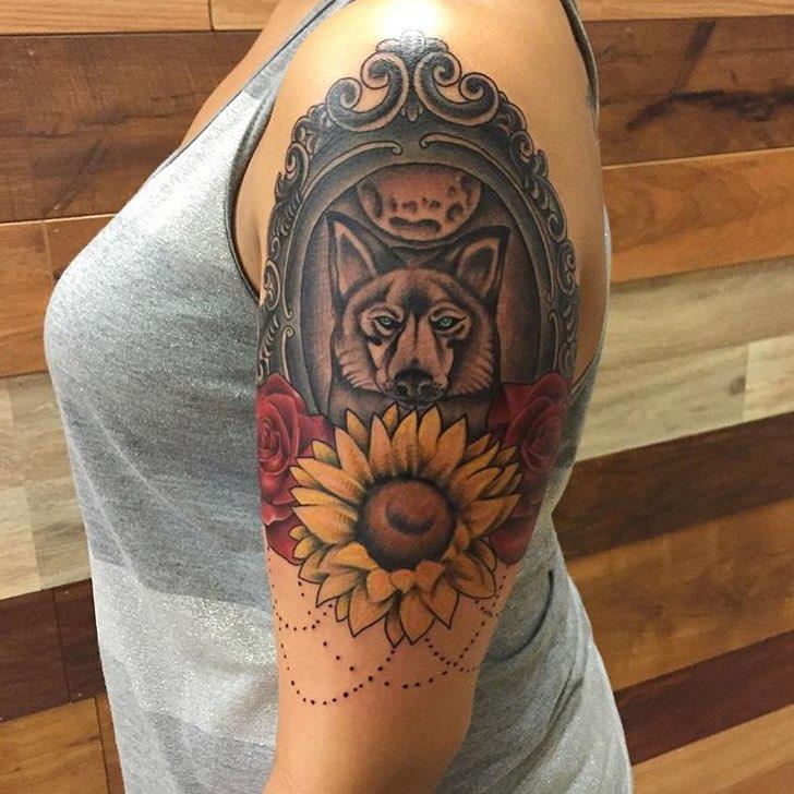 80 Bright Color Tattoo Design Ideas: 80+ Bright Sunflower Tattoos