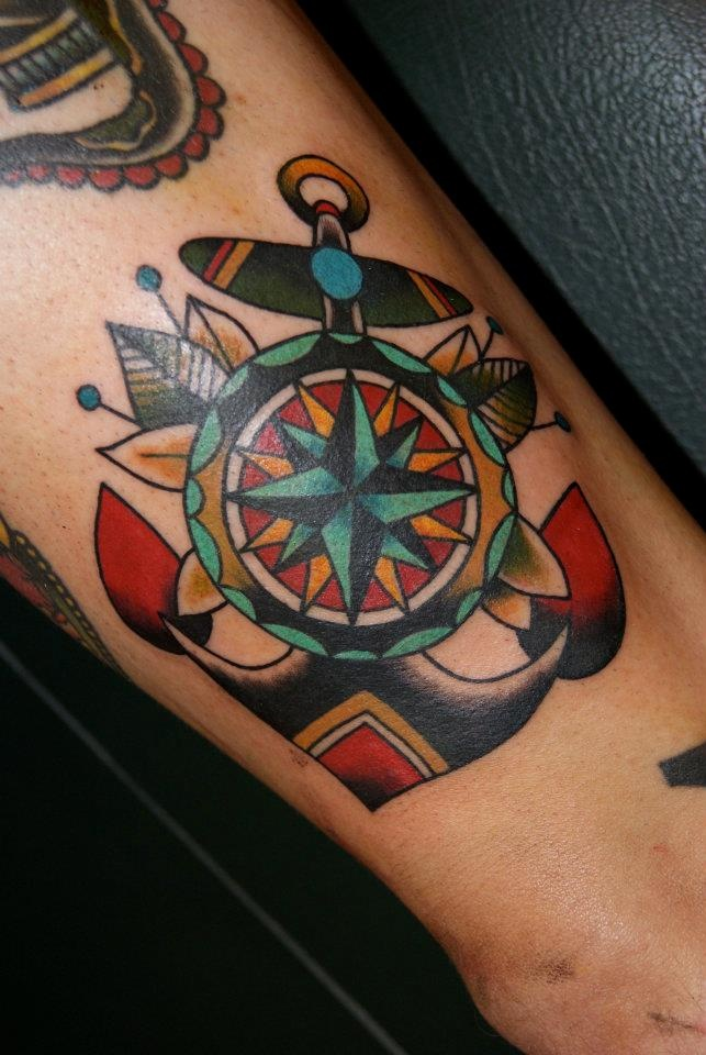 Rose and Compass Tattoo