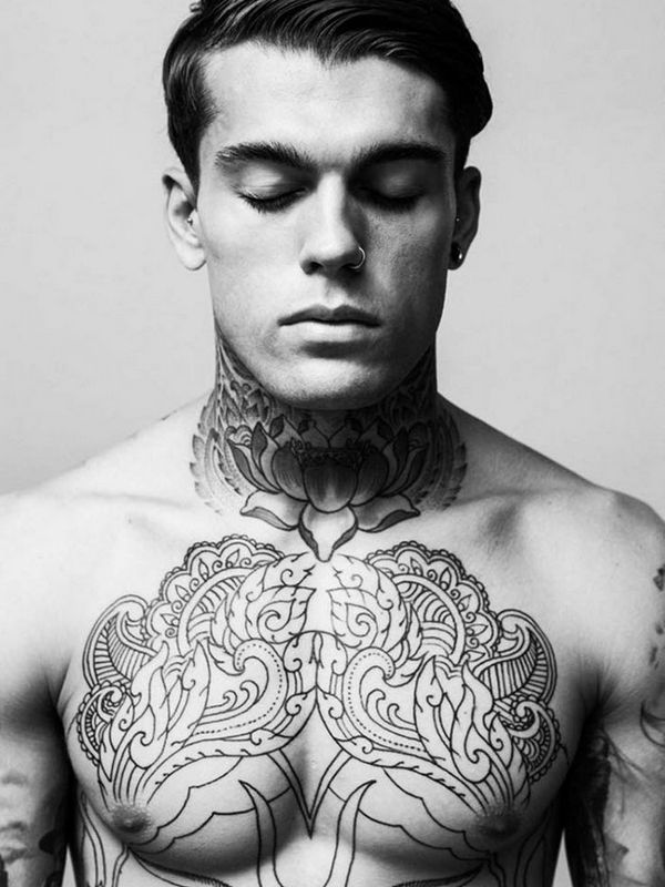 55 creative designs of neck tattoos - Tattoo torse homme ...