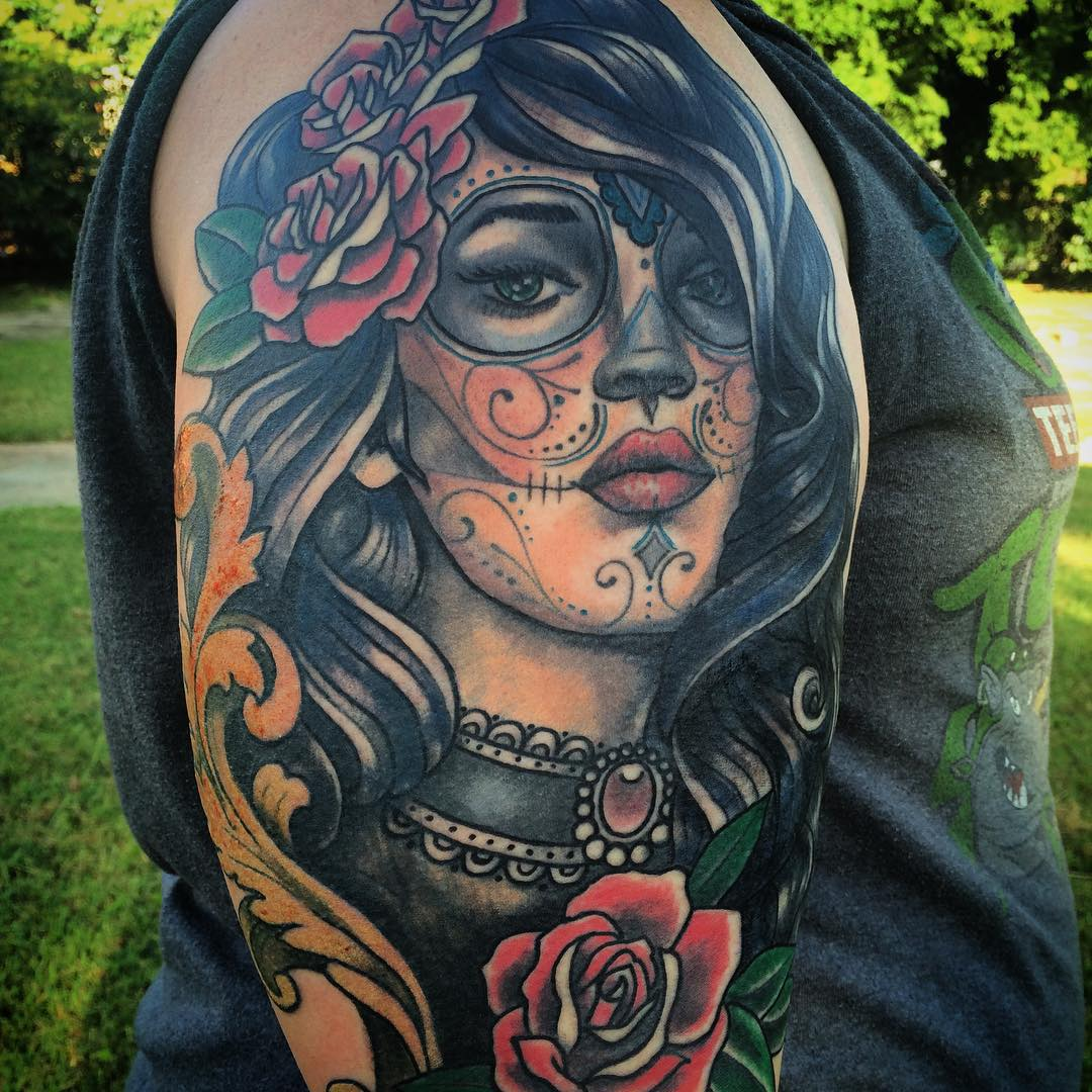 90 best day of the dead tattoos designs meanings 2018. Black Bedroom Furniture Sets. Home Design Ideas