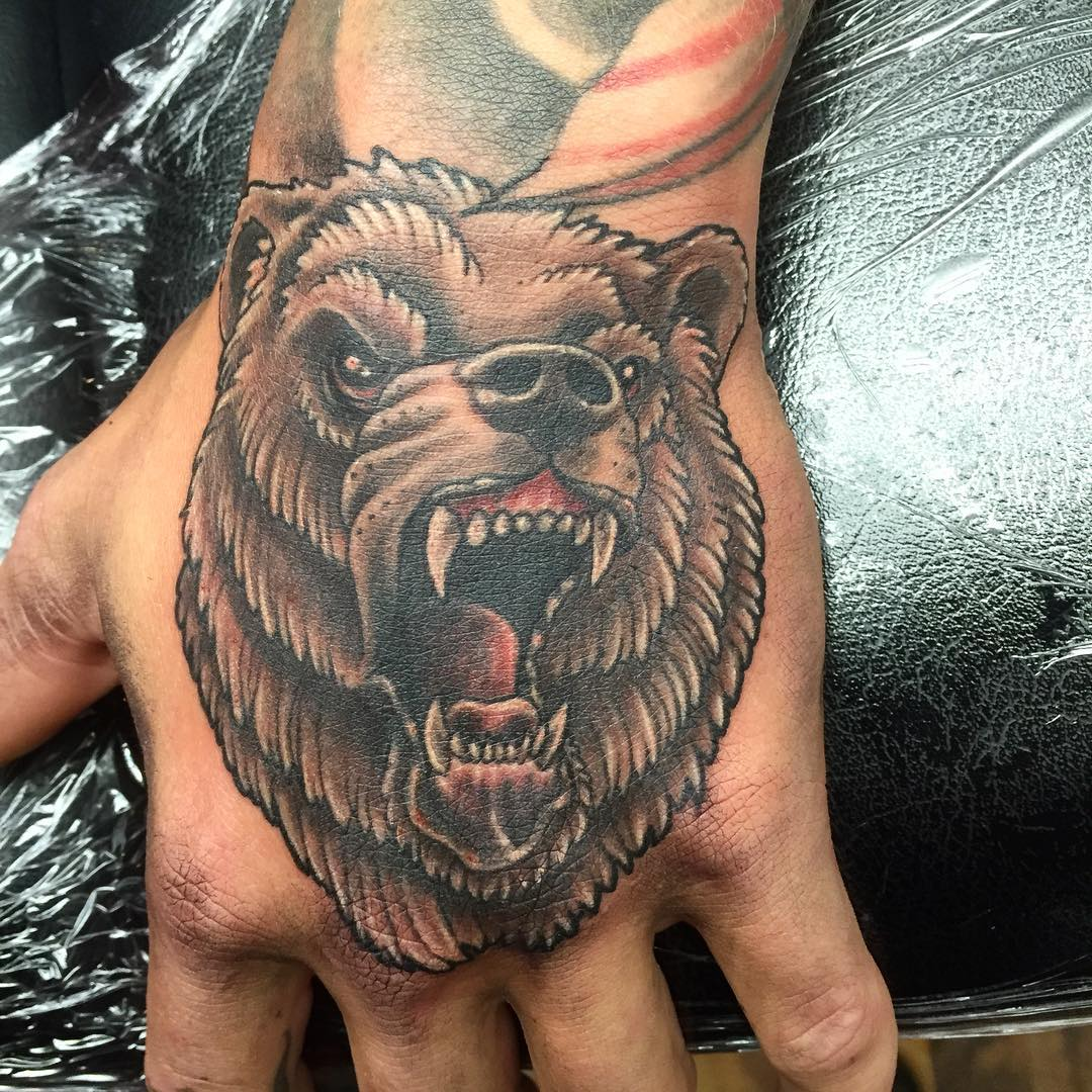 tattoo hand tattoos designs bear gang popular hands finger head guys meaning most between grizzly lis face simple