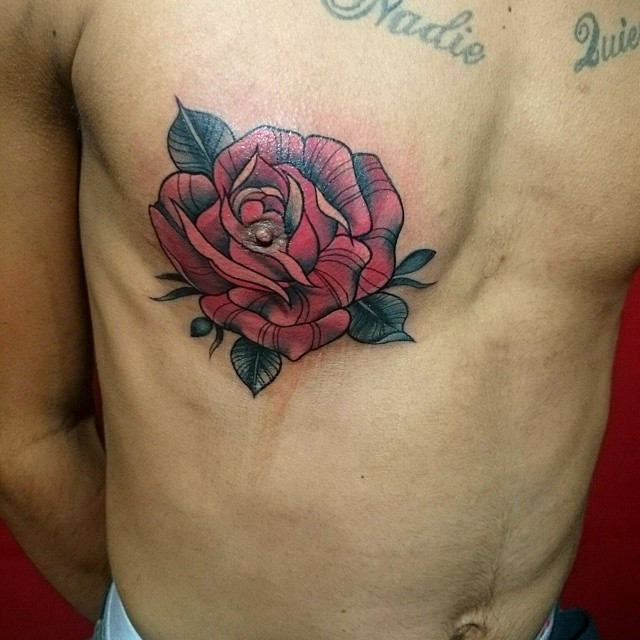 Tits tattoo on man