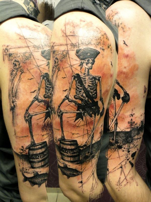 55 amazing pirate tattoo designs. Black Bedroom Furniture Sets. Home Design Ideas