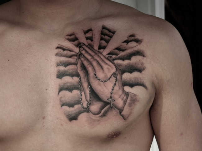 Praying Hands With Rosary Tattoos