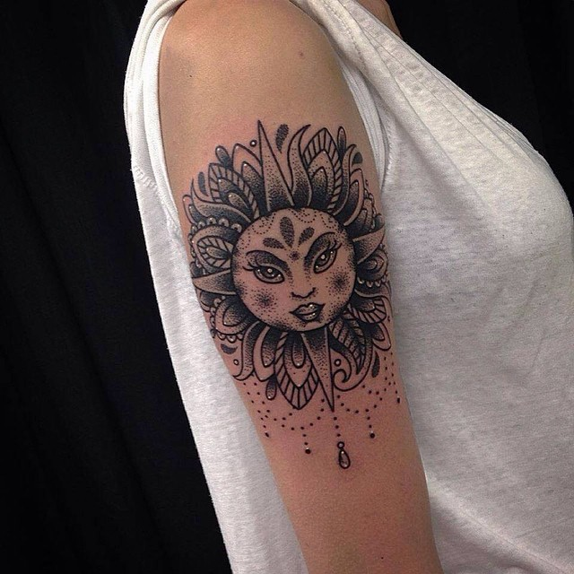9 stylish and realistic nature tattoos designs ideas for Realistic sun tattoo