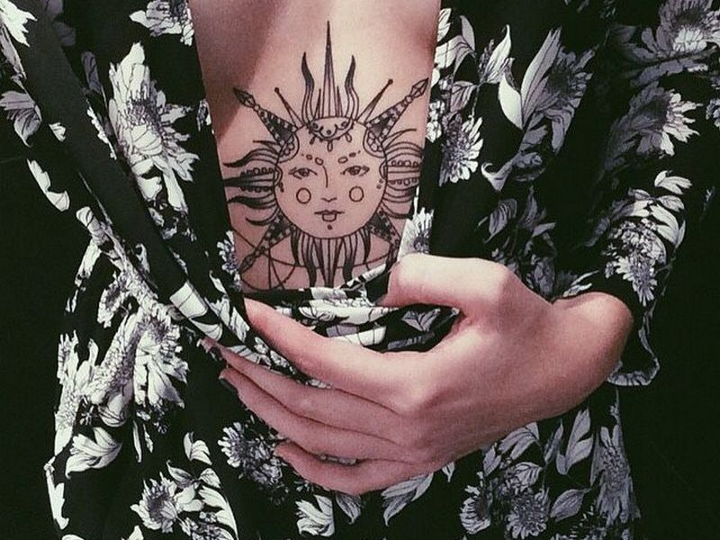 7c5f6fff4 95+ Best Sun Tattoo Designs & Meanings - Symbol of The Universe (2019)