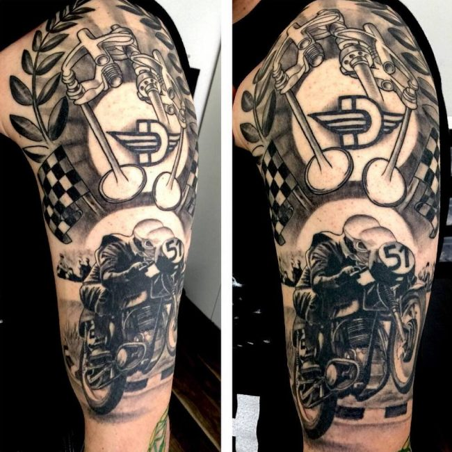 85 best biker tattoo designs meanings for brutal men for Motorcycle tattoo sleeve