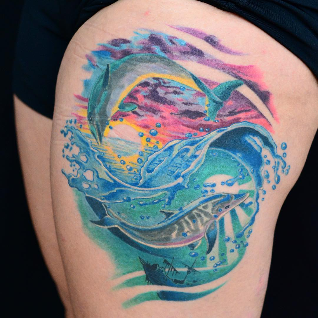 2b6cca61b 65+ Best Dolphin Tattoo Designs & Meaning - 2019 Ideas