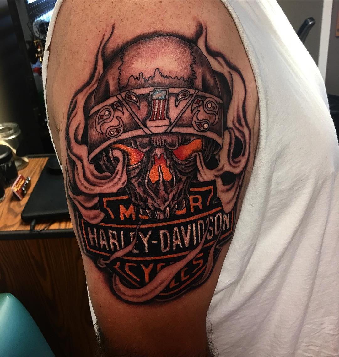95+ Adventurous Harley Davidson Tattoos - photo#16
