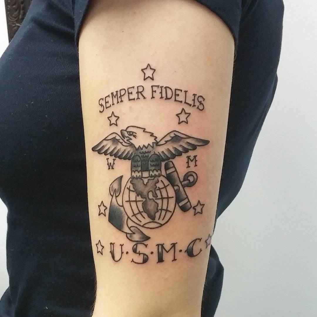 75 cool usmc tattoos meaning policy and designs 2019. Black Bedroom Furniture Sets. Home Design Ideas