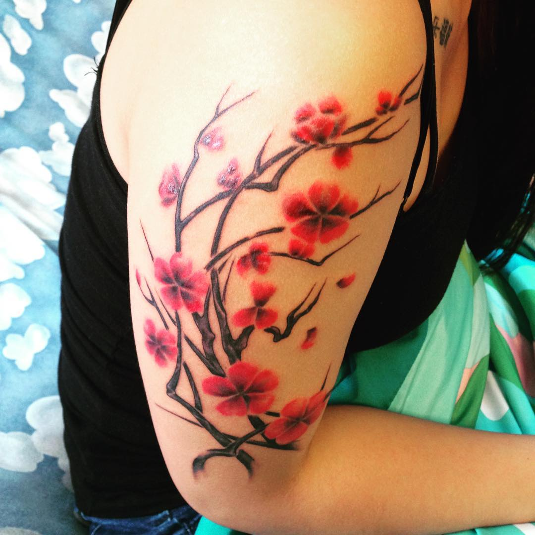 75 best japanese cherry blossom tattoo designs meanings 2018. Black Bedroom Furniture Sets. Home Design Ideas