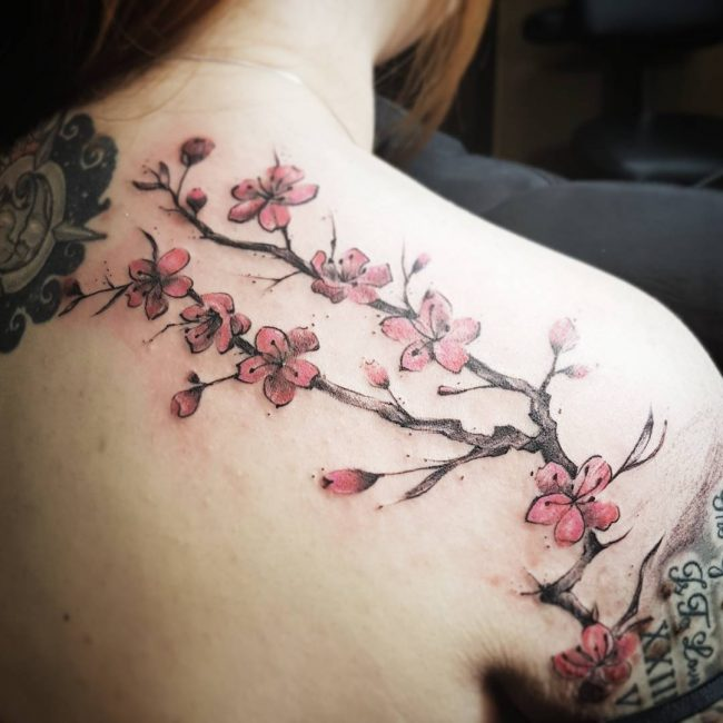 75 Best Japanese Cherry Blossom Tattoo Designs Meanings 2018