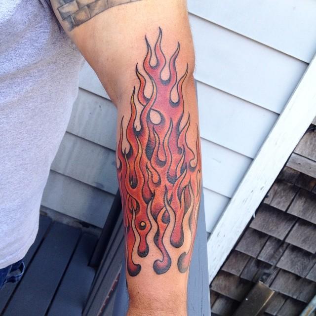 traditional eagle forearm tattoo