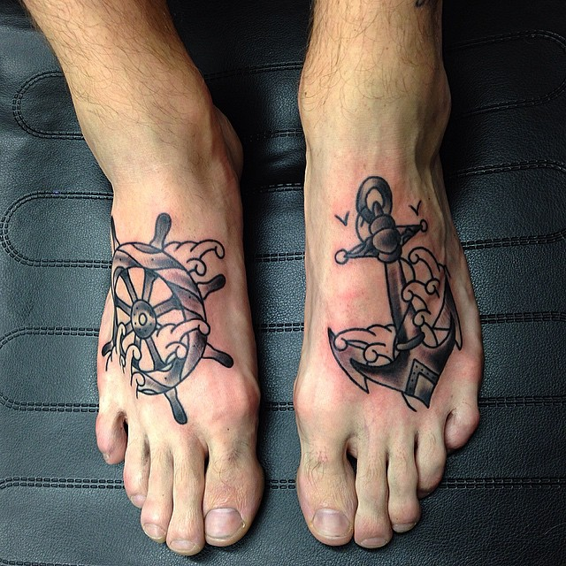 35 outstanding foot tattoo designs for Ankle tattoos on men