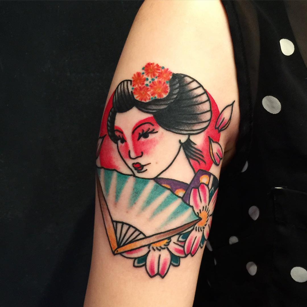 33acc06517e10 70+ Colorful Japanese Geisha Tattoos - Meanings and Designs (2019)