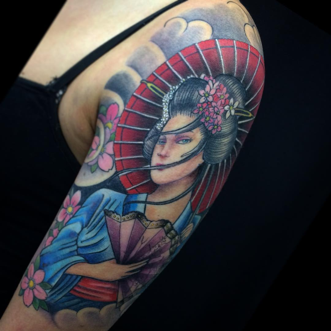 70 colorful japanese geisha tattoos meanings and - Tattoos geishas japonesas ...