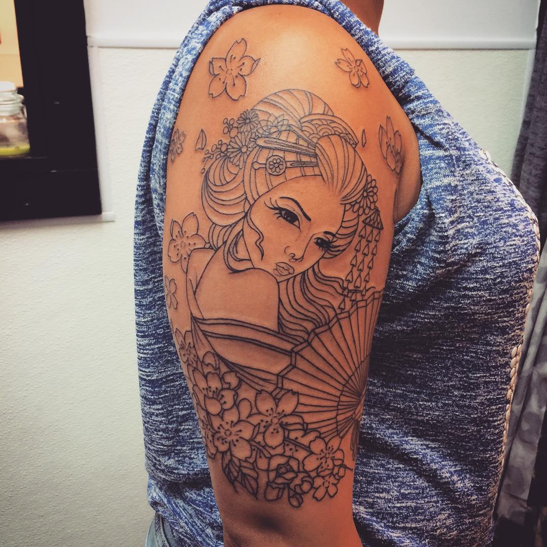 Japanese Tattoos Designs Ideas And Meaning: 70+ Colorful Japanese Geisha Tattoos
