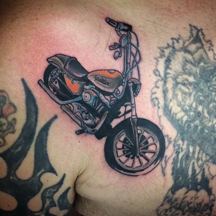 95 adventurous harley davidson tattoos for Traditional motorcycle tattoo