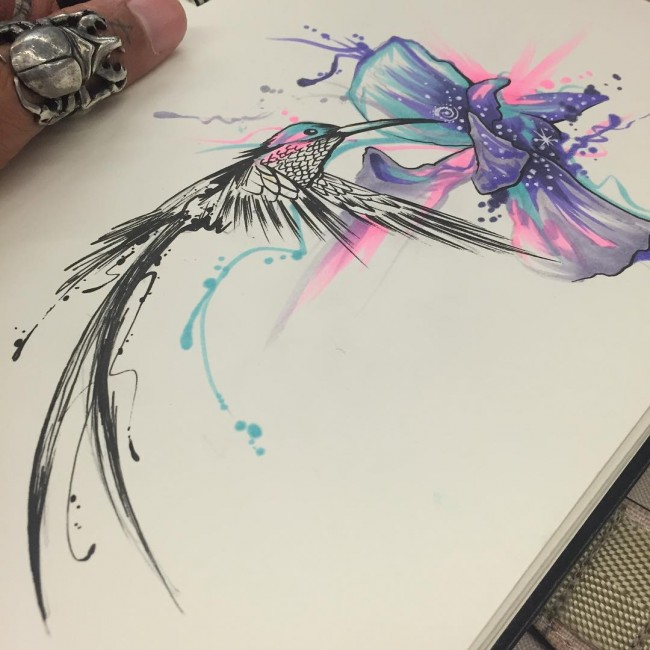 80+ Best Watercolor Hummingbird Tattoo - Meaning and Designs (2018)