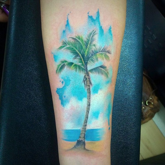 50 superb palm tree tattoo designs and meaning. Black Bedroom Furniture Sets. Home Design Ideas
