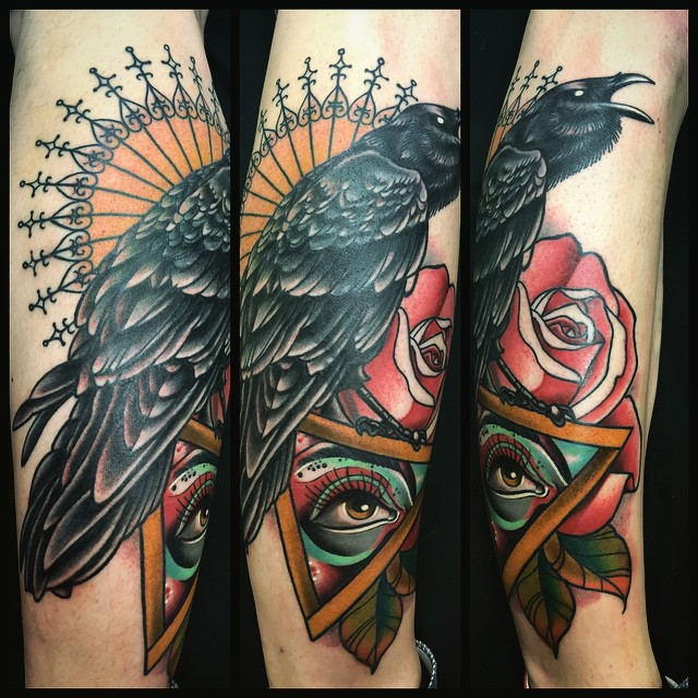 ce5c8b099 75+ Best Raven Tattoo - Designs & All Meanings (2019)