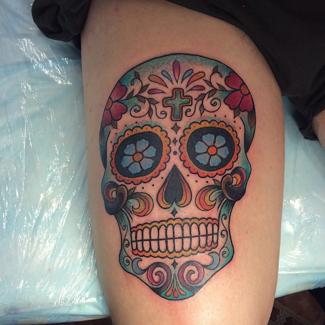 60 best sugar skull tattoos for Candy skull tattoo