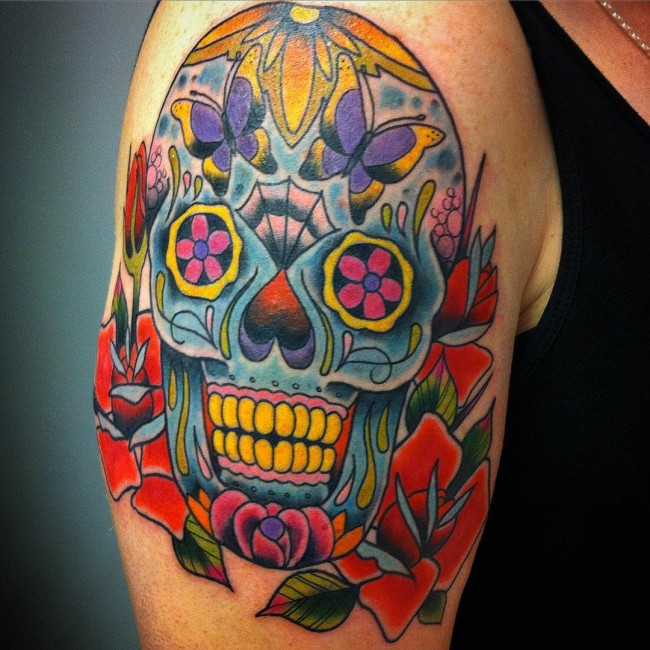 c615ebc89 125+ Best Sugar Skull Tattoo - Designs & Meaning (2019)