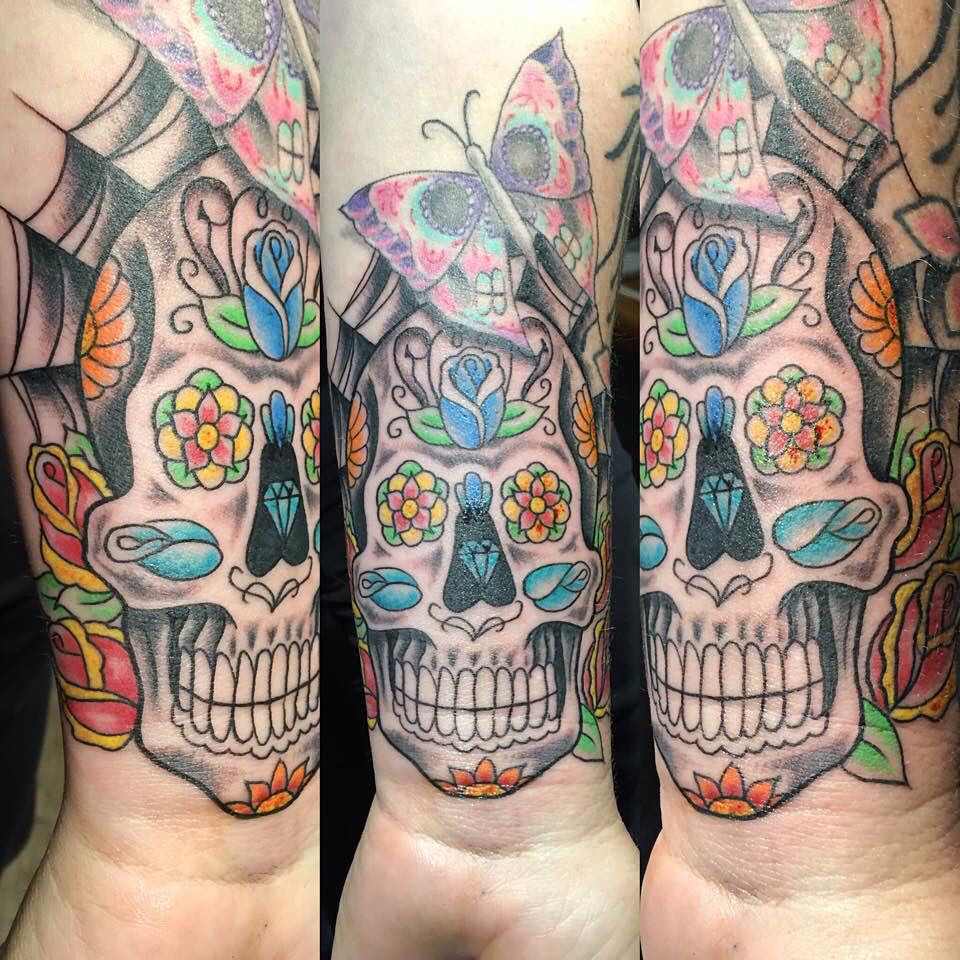 48004e9834c96 125+ Best Sugar Skull Tattoo - Designs & Meaning (2019)