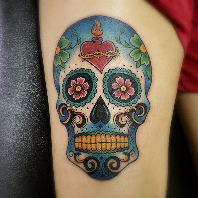 60 best sugar skull tattoo designs meaning for Color skull tattoos