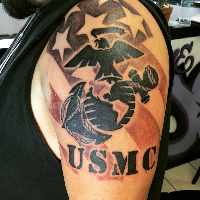 25 cool usmc tattoos meaning policy and designs for Usmc sleeve tattoo ideas