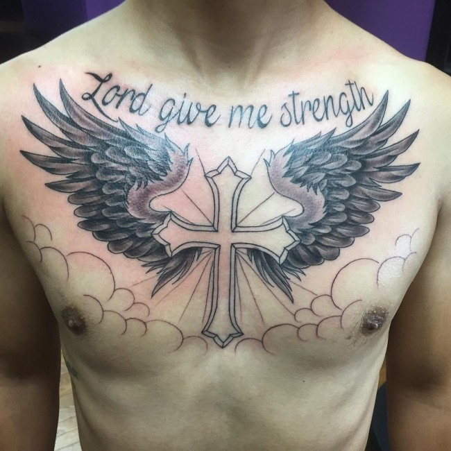65 best angel wings tattoos designs meanings top for Tattoo cross with wings