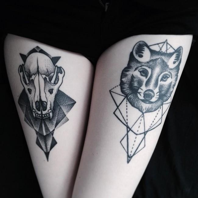 Значение татуировки волк - ум и сила