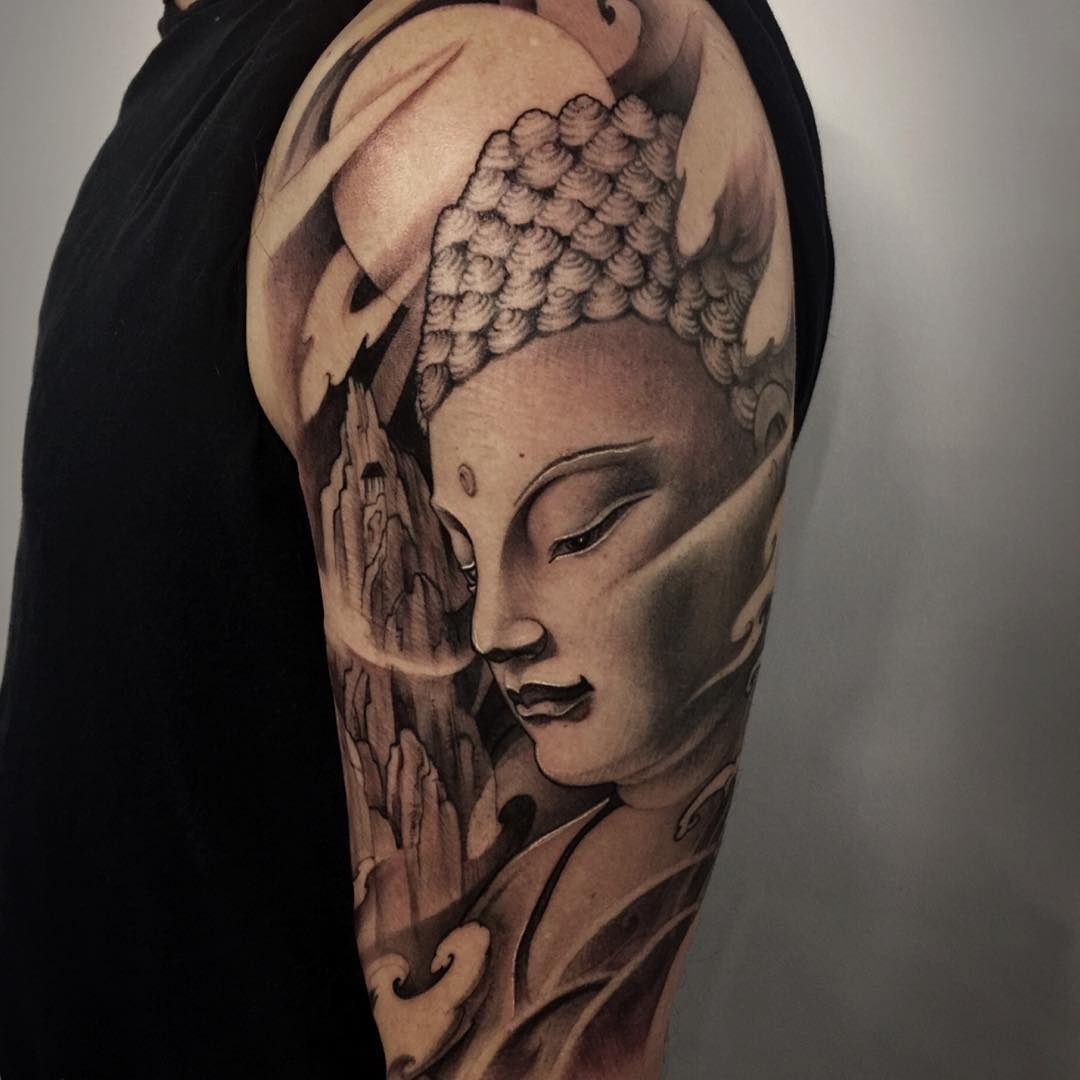130 best buddha tattoo designs meanings spiritual for Happy buddha tattoo