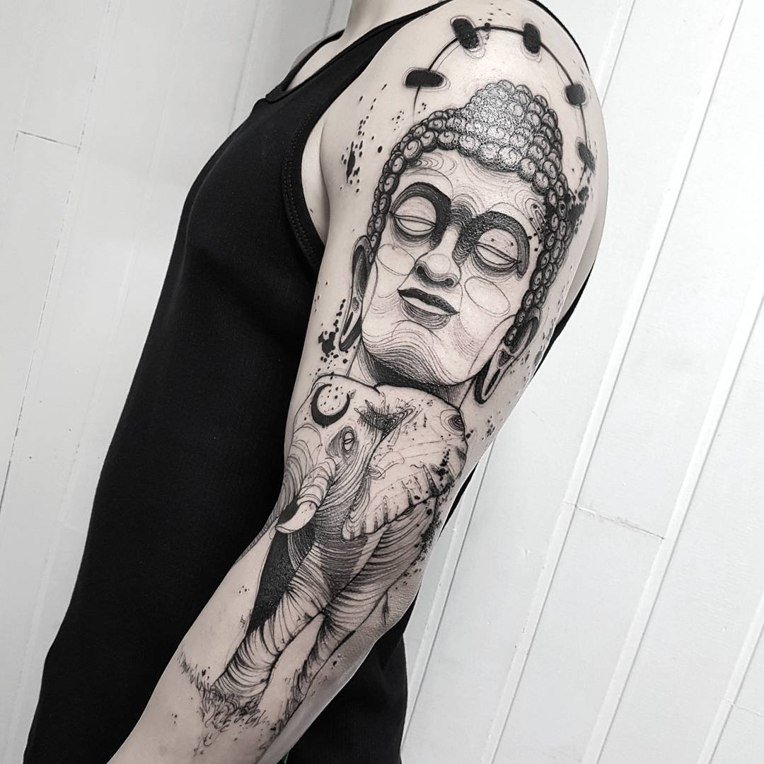 bc3dc0d23f704 Buddha sleeve tattooing - YouTube