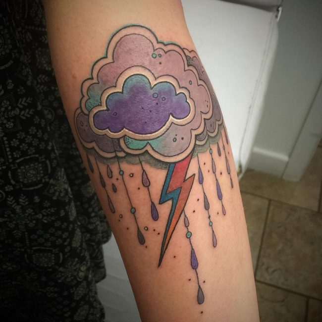 105 best cloud tattoo designs meanings love is in the for Lightning tattoo meaning