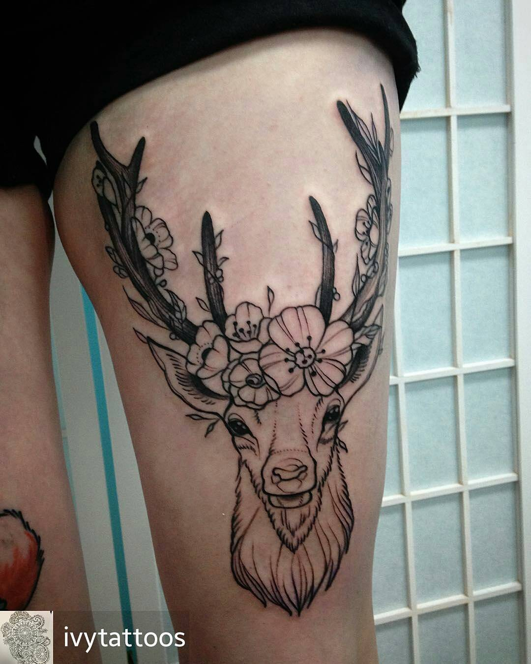 120 best deer tattoo meaning and designs wild nature 2018 for Deer antlers tattoo