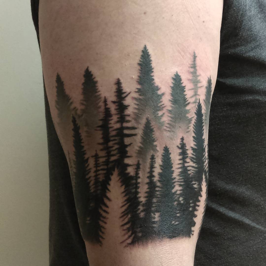 ab3fb0f32e030 75+ Simple and Easy Pine Tree Tattoo - Designs & Meanings (2019)
