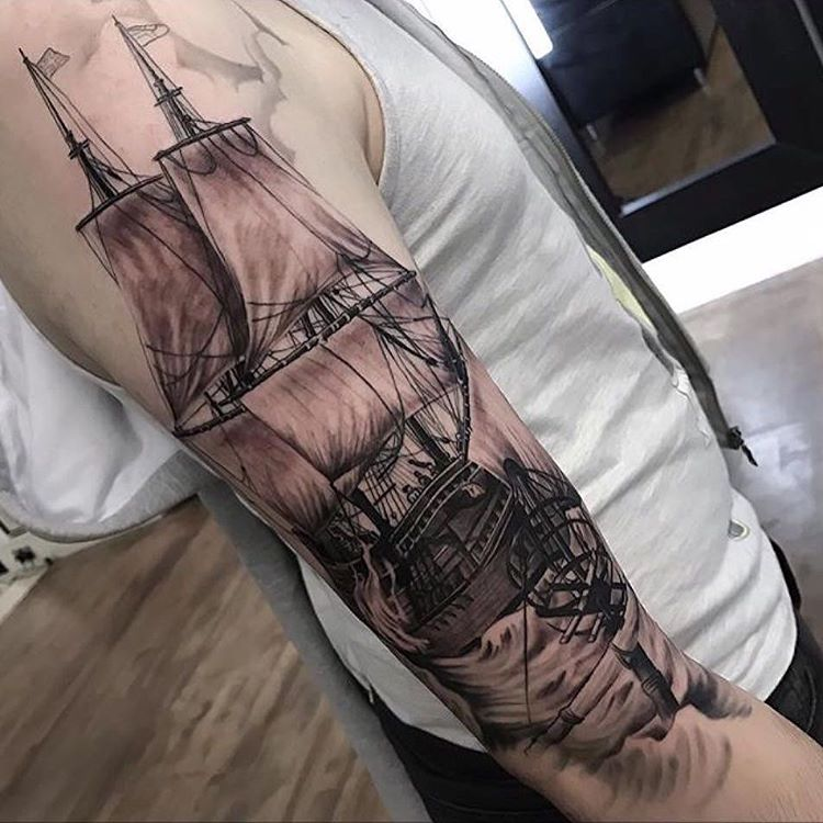 582d9663c 95+ Best Pirate Ship Tattoo Designs & Meanings - (2019)