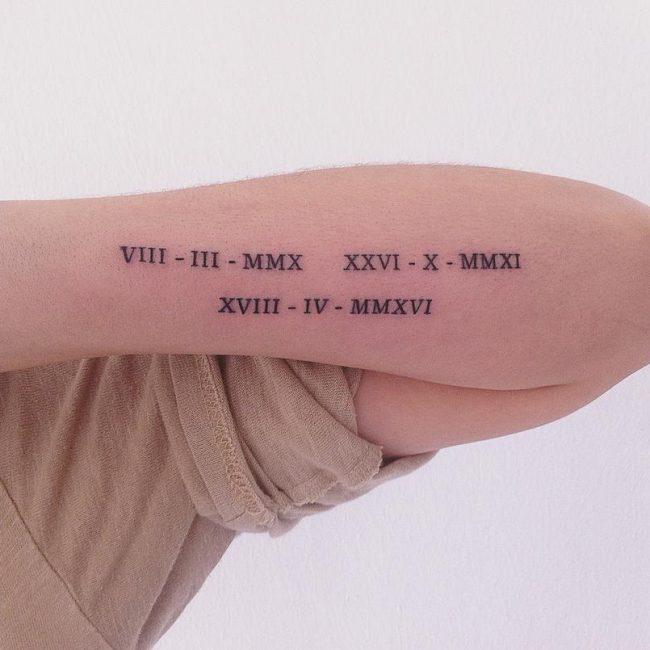 Roman numeral tattoo
