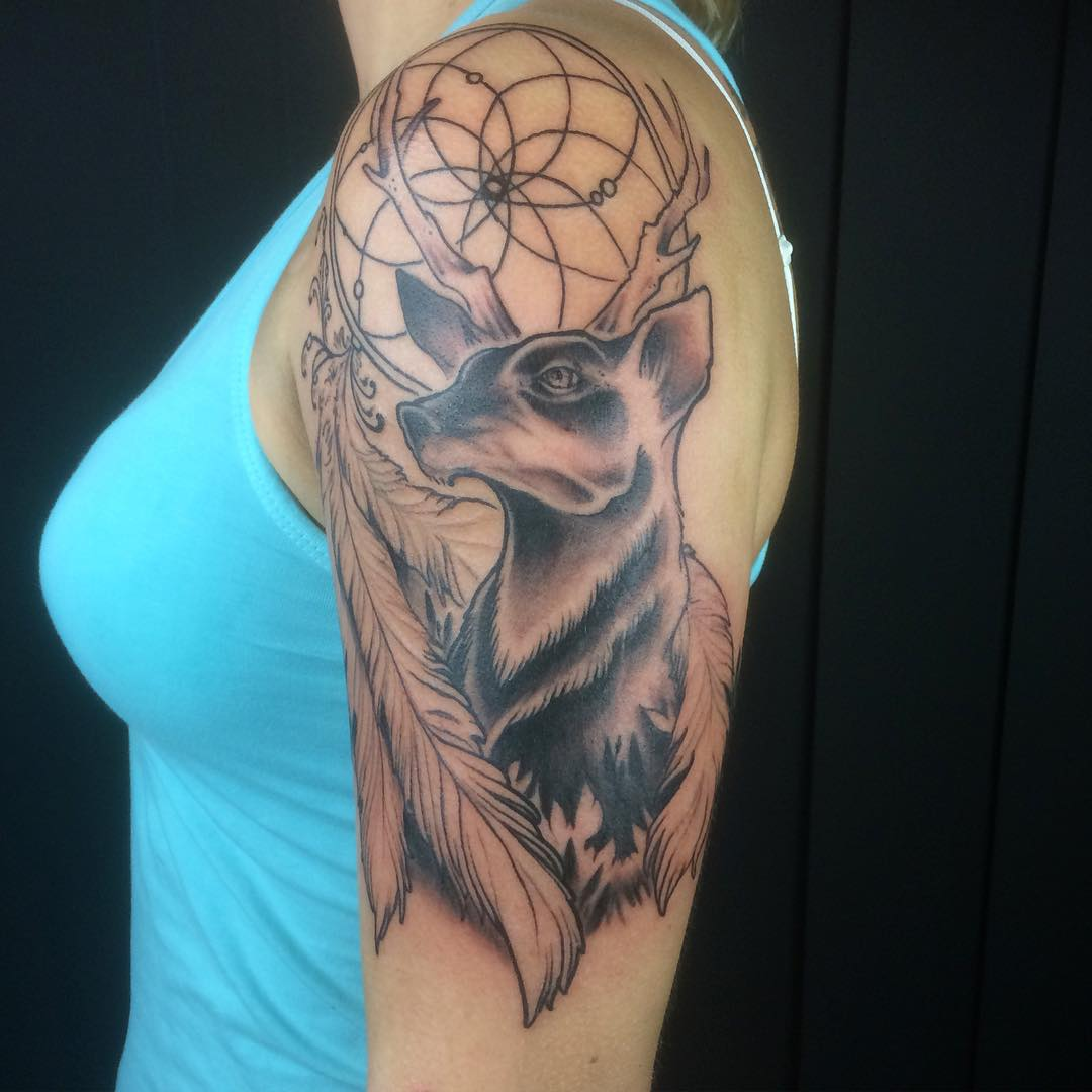 120 best deer tattoo meaning and designs wild nature 2018. Black Bedroom Furniture Sets. Home Design Ideas