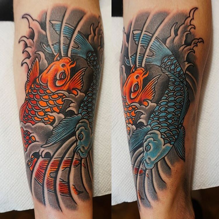 Koi fish tattoo 67 carpas pinterest koi fish tattoo for Blue and orange koi fish