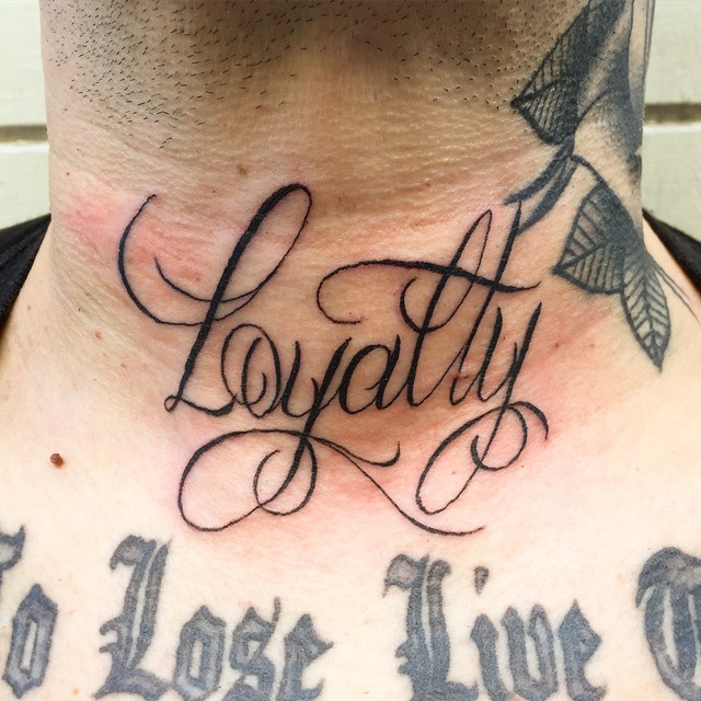 Love life loyalty words tattoo