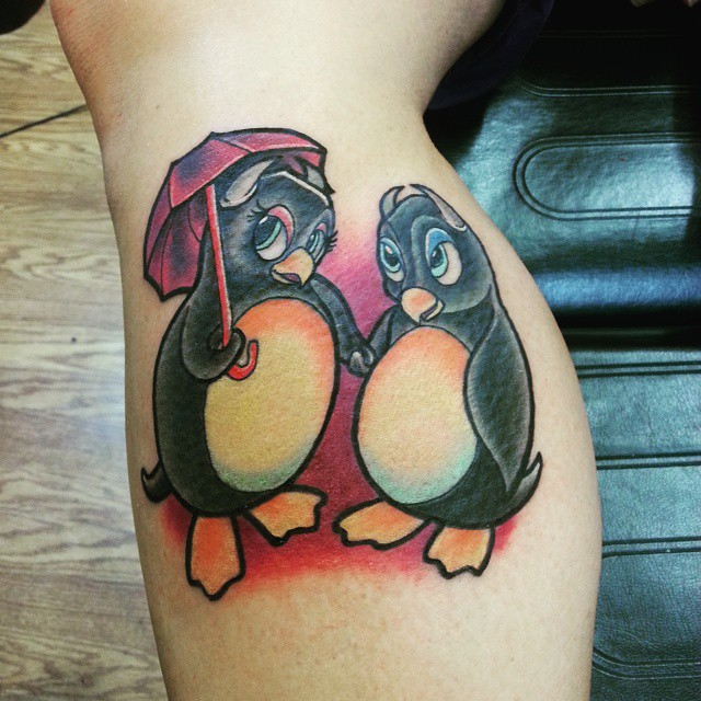 55 cute and funny penguin tattoo designs. Black Bedroom Furniture Sets. Home Design Ideas