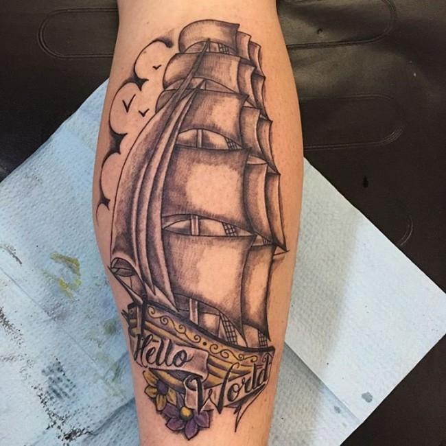 pirate ship tattoo (2)