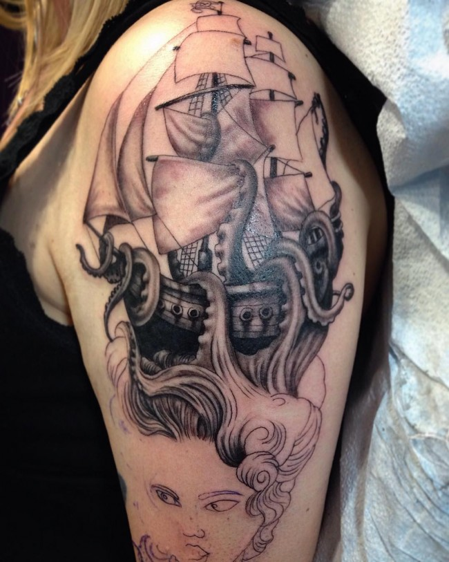 pirate ship tattoo (3)