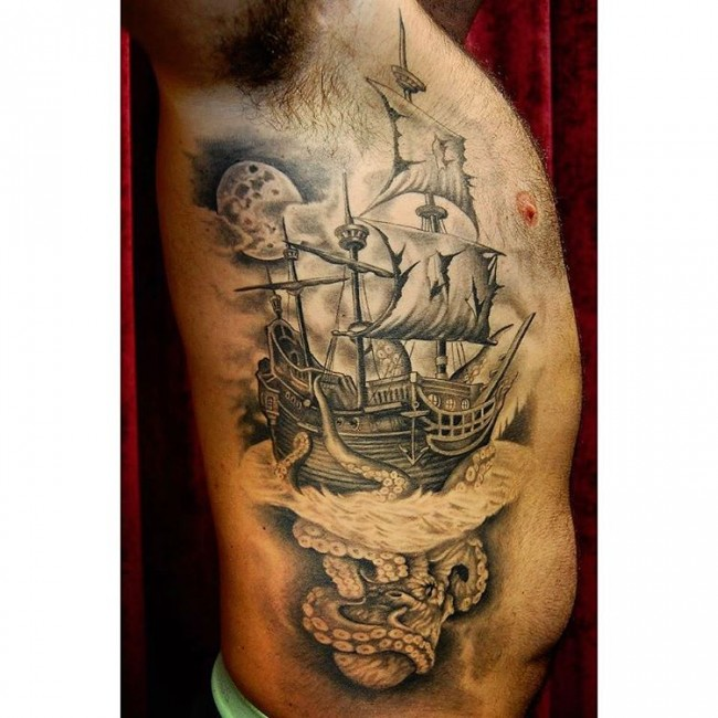 pirate ship tattoo. Black Bedroom Furniture Sets. Home Design Ideas
