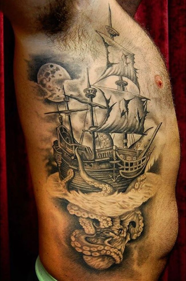 pirate ship tattoo (4)