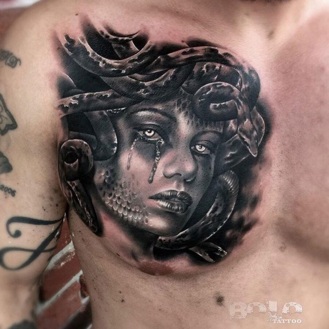 Black lips tattoo on neck