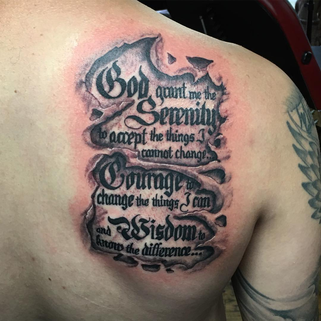 Traditional Tattoo With Old English Numbers Mens Stomach Tattoo likewise Archangel St Michael further Ptoa J Kc in addition Script Serenity Prayer Mens Crusive Quote Inner Forearm Tattoo together with Img. on our father prayer tattoo
