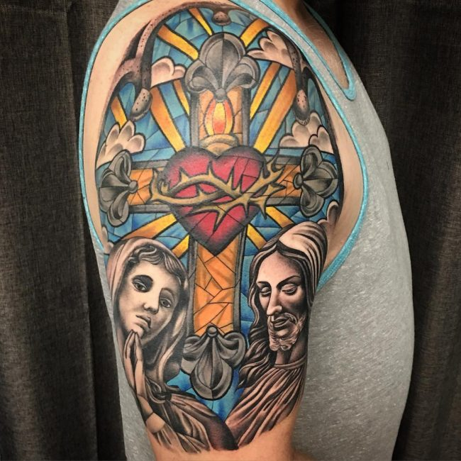 60th Anniversary Color >> 75 Dazzling Stained Glass Tattoo Ideas – Nothing Less Than a Work of Art